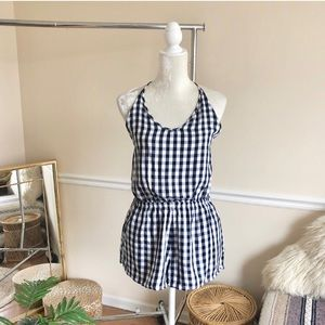 Aerie Gingham Open Back Halter Summer Romper M